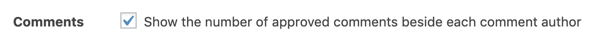 Akismet option to show number of approved comments beside each comment author.